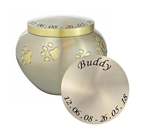 Love to Treasure Urna Personalizada con Diseño de Huella de Mascota en Color Plateado y Dorado para Cenizas de Gato y Perro, Recuerdo de Cremación