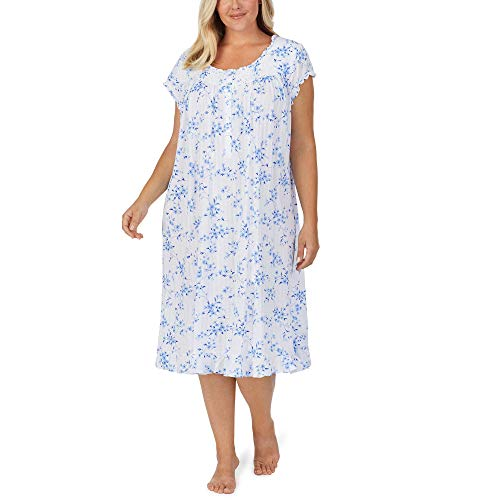 Eileen West Plus Size Cotton Modal Pointelle Knit Cap Sleeve Waltz Nightgown White Ground Blue Mono Floral 3X