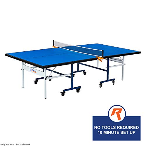 Lowest Prices! Indoor 15mm Table Tennis, Ping Pong Table with Net Set by Rally & Roar – Quick Asse...