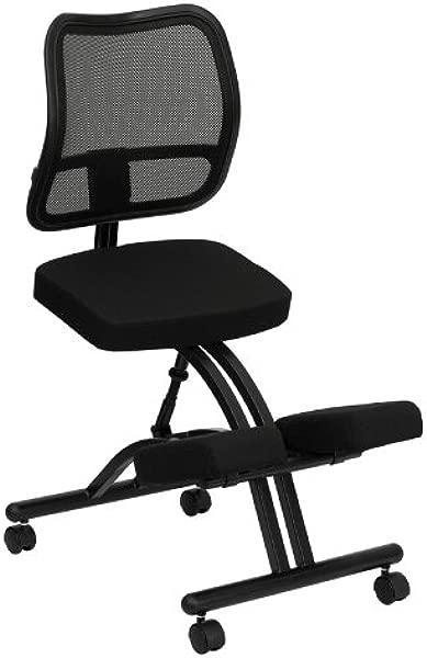 Emma Oliver Mobile 符合人体工程学的黑色网格靠背跪着办公椅