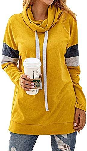 Little Hand Damen Farbblock Hoodie Sweatshirt Pullover Kapuzenpullover Gelb