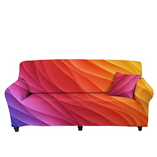 Showudesigns Elastic Sofa Covers 2 Seater Slipcovers for Armchair Rainbow Non Slip Couch Cover Loveseat for Pets Dogs, Cats,Kids Dirty Proof Wingback Recliner Slip Cover