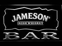 Jameson Irish Whisky Bar LED看板 ネオンサイン ライト 電飾 広告用標識 W40cm x H30cm ホワイト