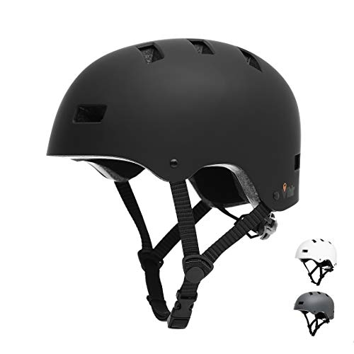 Vihir Erwachsene Fahrradhelm Skaterhelm E-Scooter E-Roller BMX Fahradhelm Herren Damen Sport Helm für Männer & Frauen Schwarz Weiß Dunkelgrau (M 54-58cm, Schwarz)