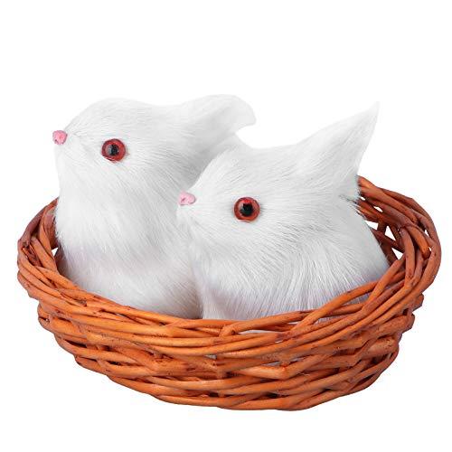 SOIMISS 1 Juego de Adornos de Conejo de Peluche Realista Conejito de Pascua de Peluche de Juguete Mini Figuras Decoración de Escritorio (Blanco)