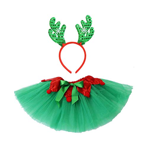 Christmas Tutu Outfit Costume for Girls Elf Skirt Holiday Party with Reindeer Headband Set