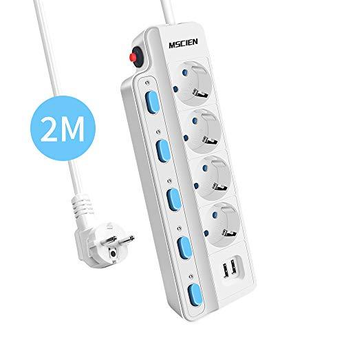 MSCIEN Steckdosenleiste mit 2 USB, (einzeln schaltbar, mit Überspannungsschutz, Mehrfachsteckdose 4-Fach, Wandmontage, 16A 2m Kabellänge) Weiß