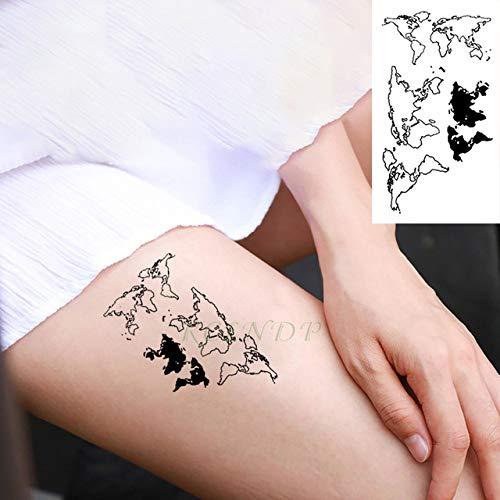 ljmljm 3 Piezas Pegatinas de Tatuaje a Prueba de Agua Mapa del ...
