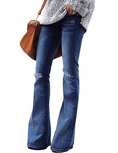 luvamia Women's Ripped Flare Bell Bottom Jeans Pants Retro Wide Leg Denim Pants Blue Size M