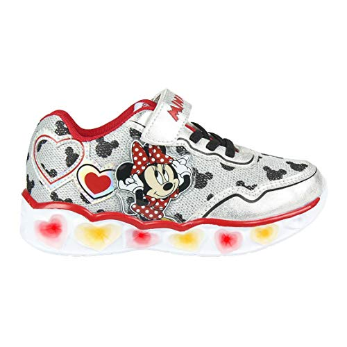 CERDÁ LIFE'S LITTLE MOMENTS Cerdá-Zapatillas LED Minnie Mouse de Color Rojo, Niñas, Plateado, 24 EU