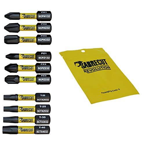 10 x SabreCut SCRK32 32 mm PZ1 PZ2 PZ3 PH1 PH2 PH3 TX20 TX25 TX30 TX40 impatto cacciavite magnetico driver bit set Pozi Pozidrive Phillips Torx resistente per DeWalt Milwaukee Bosch Makita e altri