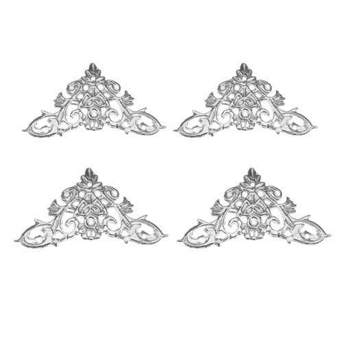 Rechtwinklige Halterung aus Metall 4Pc Antique Kantenschutzecken Stoßschutz-Schmuck-Kasten-Dekor Album Füße Bein Möbel Eckwinkel mit Nagel 35 / 46mm (Color : E 46MM)