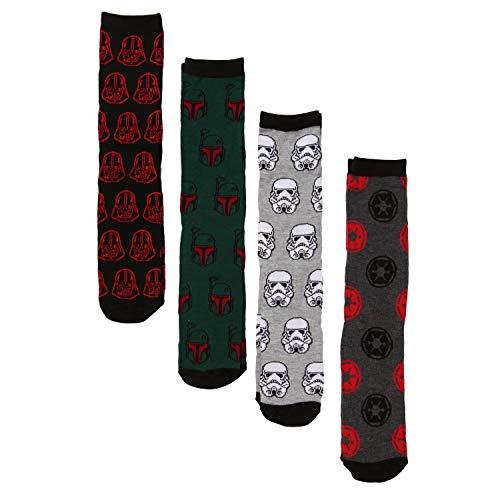 Empire Logo Boba Fett Darth Vader Stormtrooper Crew Socks 4-Pack Gift Box