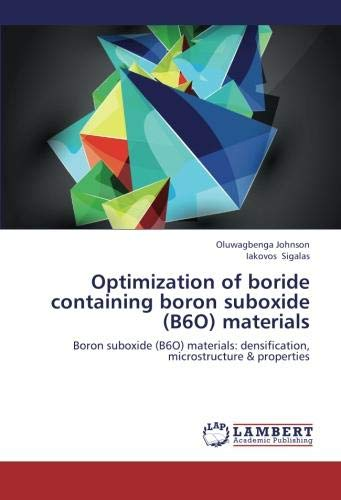 Optimization of boride containing boron suboxide (B6O) materials: Boron suboxide (B6O) materials: densification, microstructure & properties