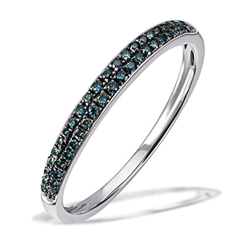 Goldmaid Damen-Ring Glamour 375 Weißgold rhodiniert Diamant (0.20 ct) grün Brillantschliff Gr. 54 (17.2) Verlobungsring Diamantring