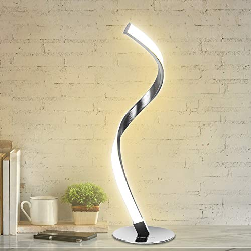Modern Spiral Table Lamp for Living Room, LED Brightness Dimmable Bedside Lamp for Bedrooms, Silver Desk Lamp Nightstand Touch Lamp 3 Colors 3000K 4000K 5000K Warm Natural Cold White Light Decoration