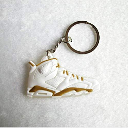 CgngMz Mini Silicona Jordan 6 Llavero Bolso Encanto Mujer Hombre niños Llavero Regalos Zapatilla de Deporte Llavero Colgante Accesorios Zapatos Llavero, Color de Foto