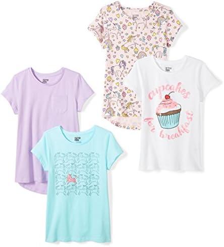 Spotted Zebra Girls Kids Short Sleeve T Shirts 4 Pack Unicorn Large product image
