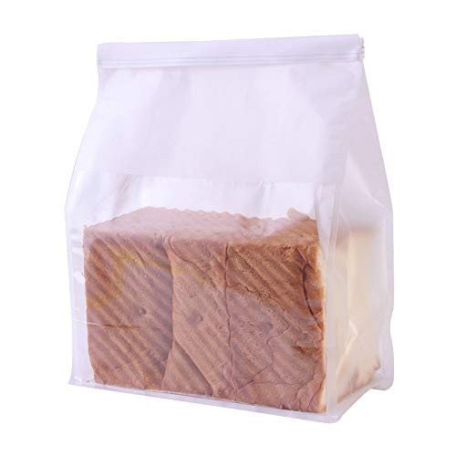 25 Pcs Tin Tie Lock Closure White Kraft Paper Bread Loaf Bag With Window, 8.46x4.3x11 Inches White Kraft Food Packaging Bakery Storage Toast Bags
