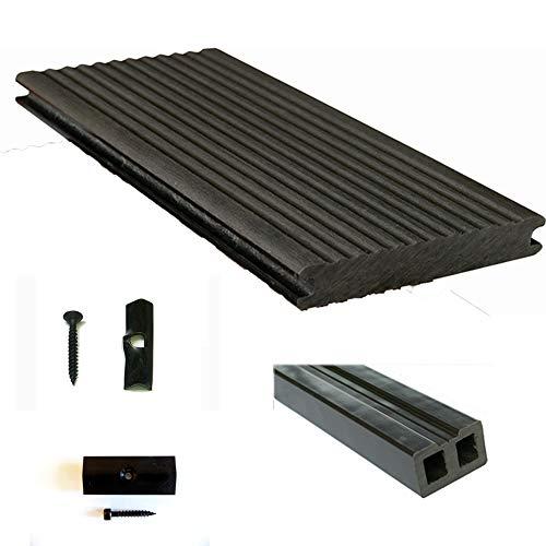 Terrassendiele WPC Komplettset WPC-WoodoMassiv in anthrazit beinhaltet WPC 3 m Diele, Unterkonstruktion, Verbindungsclipse, Anfang- und Endclip (20 m²)