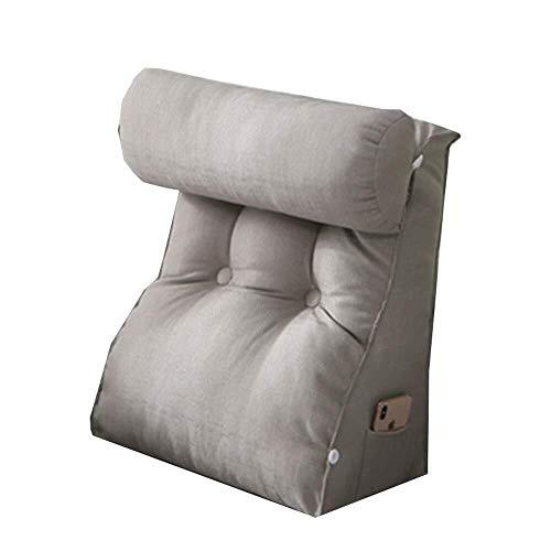 XKKD - Cuscino triangolare a cuneo per divano, letto, poggiatesta, per lettura, cuscino per divano, grigio, 55*60*30cm