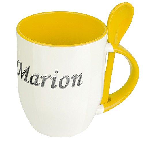 Namenstasse Marion - Löffel-Tasse mit Namens-Motiv Chrom-Schriftzug - Becher, Kaffeetasse, Kaffeebecher, Mug - Gelb