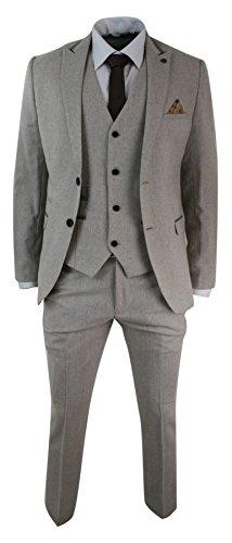 Marc Darcy Herrenanzug Creme Farbe Fischgräte Tweed Samt Optik Klassisch Eng Tailliert Vintage