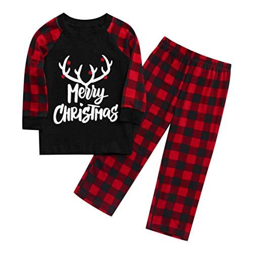 Familie Kleidung Vater Mutter Kind Baby, Hausdienst Weihnachten Elk Karierte Nachtwäsche Bekleidungssets Tops + Hosen Pyjamas Outfits Set oder Strampler (Schwarz Kinder, 6~7 Jahre)