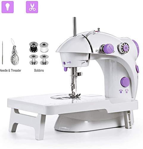 fgfh Mini máquina de coser hogar máquina de coser eléctrica máquina de coser portátil DIY pequeño trabajo máquina de coser portátil de dos velocidades con mesa de extensión