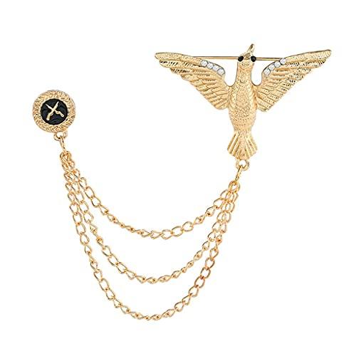SCDZS Fashion Eagle Broche Traje de los Hombres Accesorios Cadena Cadena Personalizada Vestido de Novia Abrigo Largo Patrón de Corsage (Color : Gold)