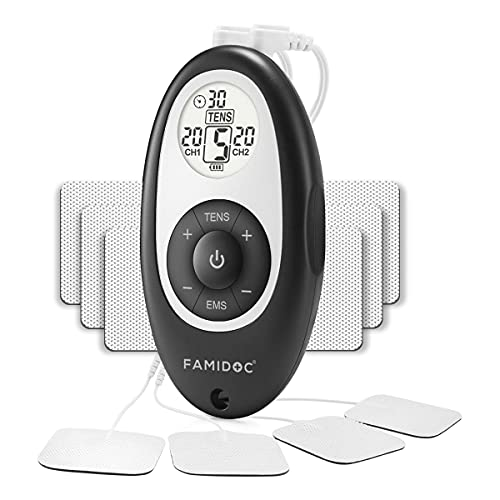 Muscle Stimulator EMS TENS Unit - FDA Cleared TENS Machine Pulse Massager for Pain Management Back Pain Joint or Muscle Pain and Rehabilitation with 10pcs Premium Electrode Pads