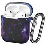 Hamile AirPods Case Protective Cover, [Front LED Visible] Fadeless Pattern Silicone Shockproof Case Cover Compatible for Apple Airpods 1 & 2, with Carabiner (Starry Night)