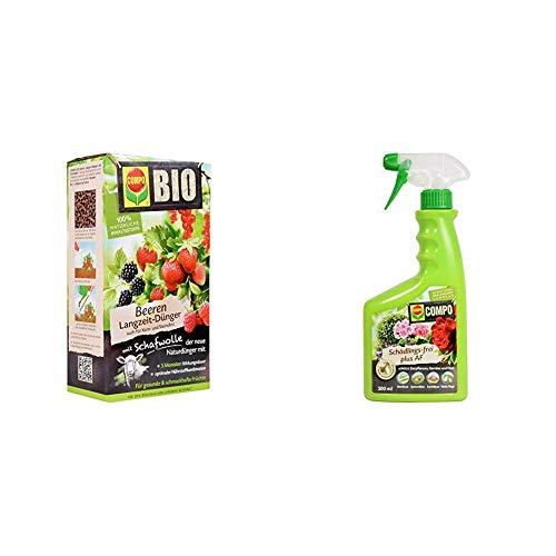 COMPO BIO Beeren Langzeit-Dünger für alle Beerenpflanzen, Kern- und Steinobst, 5 Monate Wirkung, 2 kg & Schädlings-frei plus AF, Bekämpfung von Schädlingen an Zierpflanzen, Gemüse und Obst, 500 ml