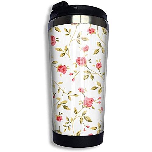Yuanmeiju Kaffeetasse, Reisebecher mit Deckel, Rosen-Muster, Edelstahl, Kaffeebecher mit auslaufsicherem Deckel, 383 ml