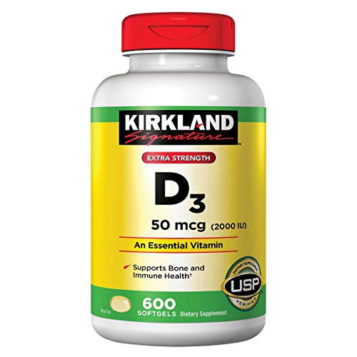 Kirkland Signature 2 Pack Of Kirkland Maximum Strength Vitamin D3 600 Softgels - 1200 Total Softgels 2000 I.U.