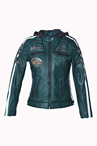 Urban Leather '58 LADIES' Giacca Moto Donna in Pelle con Protezioni Per Schiena, Spalle e Gomiti Omologate CE | Verde | M