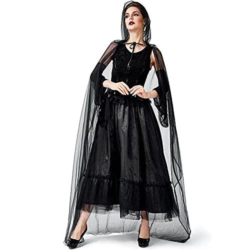 Uteruik Disfraz de bruja para mujer, vestido de cosplay con capa de manga para Halloween, Navidad, fiesta, disfraz (S)