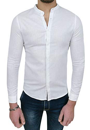 Camicia Uomo Sartoriale in Lino Bianca Casual Estiva Slim Fit (L, Bianco)