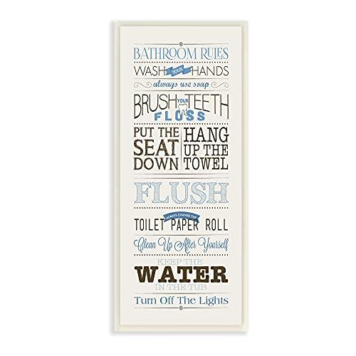 Stupell Home Décor Bathroom Rules Blue And Black Print Bathroom Wall Plaque
