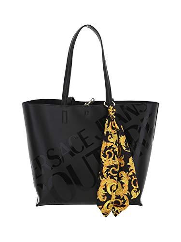 Versace Borsa a spalla Jeans Couture nera con foulard stampa Baroque