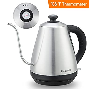 Pour Over Kettle – Fixed Thermometer For Exact Temperature Hommaid Electric Gooseneck Kettle For Coffee and Tea (Quick Heating)