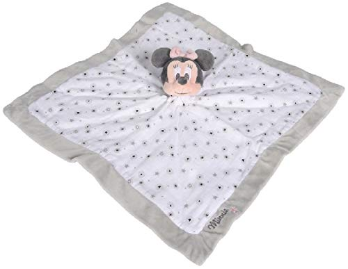 OTTO Minnie la ratón: Gran Doudou plano blanco y gris 39 x 39 cm – Peluche Disney para niño y bebé – nacimiento