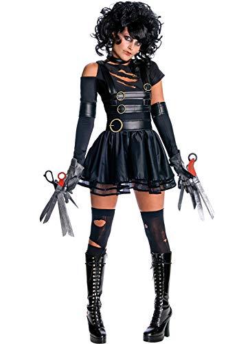 LaLaAreal Disfraz de Miss Scissorhands para Adulto, Incluye Vestido, Guantes, Tijeras de Espuma y Gargantilla