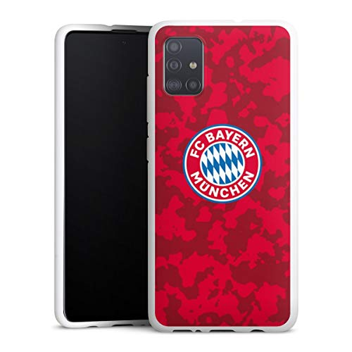 DeinDesign Silikon Hülle kompatibel mit Samsung Galaxy A51 Case weiß Handyhülle FC Bayern München Camouflage FCB