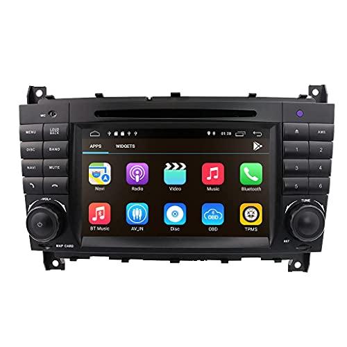 Android 10 OS Auto Multimedia Einheit 7 Zoll Kapazitiver Touchscreen Autoradio mit Spiegelverbindung BT WiFi 4G DSP SWC DAB + Fit für Benz C W203 2004-2007 / CLC W203 2008-2010 / CLK W209 2005-2011