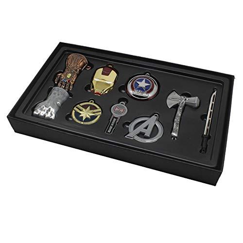 Chiefstore Endgame Schlüsselanhänger Legierung Halskette Key Ring Anhänger 9pcs Film Cosplay Kostüm Zubehör für Erwachsene Kleidung Schmuck Kollection Box Set (Silber)