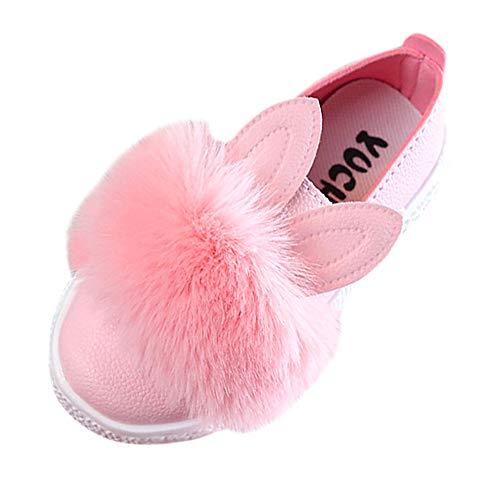 Fenverk Kinder Kleinkind Baby Pelz Sneaker MäDchen Süß Hase Weich Anti-Rutsch Single Schuhe Mode SäUgling Jungs Warm Stiefel Unisex AltaSport Trainer(Rosa,24 EU)