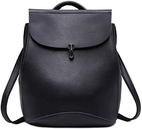 Mujer con estilo simple moda británica Academia estilo de doble uso Mochila (Color : Black)