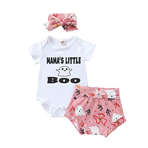 Longfei Conjunto de 3 piezas de ropa para recién nacido, mameluco de manga corta, pantalones cortos para la cabeza, blanco, 6-12 Meses