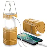 Portable LED Camping Lantern with Hand Crank Solar Powered Rechargeable, Collapsible Emergency Lanterns Flashlight with 3000mAh Power Bank for Hurricane Storms Hiking Outages, Waterproof (Yellow)